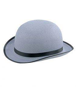 Grå bowlerhat i filt med sort bånd til kostume.