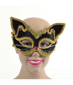 Sort og guld kat halvmaske.