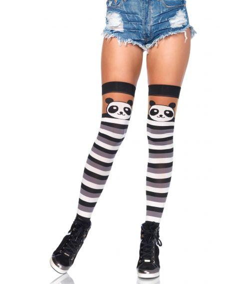 Panda stockings med sorte, hvide og grå striber