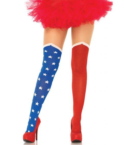 Blå og røde helte kvalitets strømpebukser med