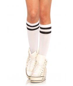 Hvide sports knæstrømper med sorte striber