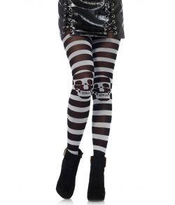 Sort og grå stribede kvalitets strømpebukser med kranier på knæene