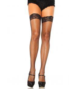 Sorte kvalitets net stockings med blondekant