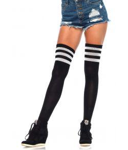 Sorte athletic kvalitets stockings med tre hvide striber