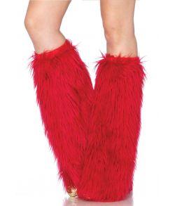 Røde benvarmere med lang kunst pels.