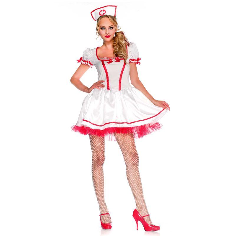 bafda274f21 Billigt sygeplejerske kostume til sidste skoledag.