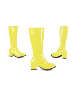 Neongule disco støvler til piger til fastelavn.