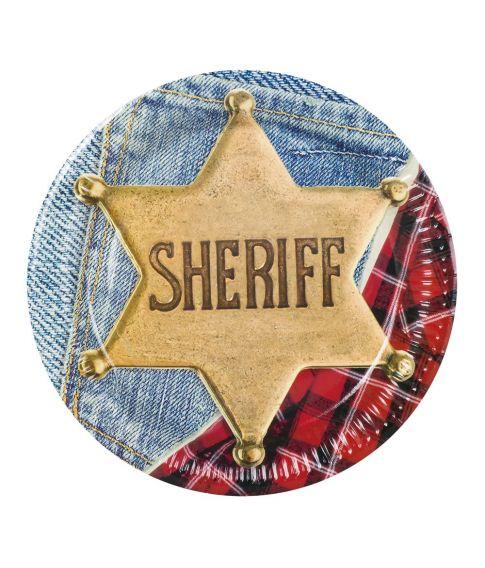 Paptallerkner med Sherif motiv til Cowboy festen.