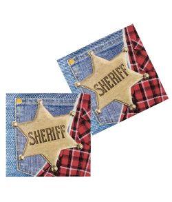 Sheriff servietter til Cowboyfesten.