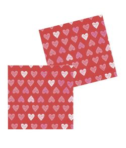 12 stk røde servietter med hjerte til Valentinsdag.