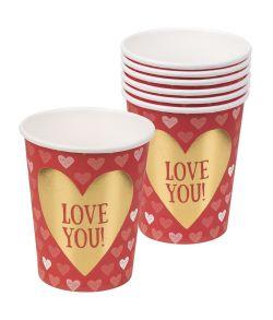 6 stk papkrus med hjerte til Valentinsdag.