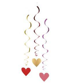 3 stk spiraler med hjerte vedhæng til Valentinsdag.