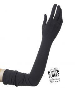 Sorte lange handsker til kostume.