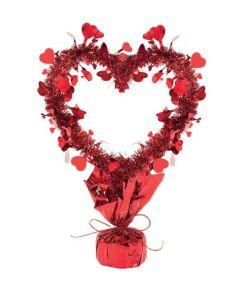 Rød hjerte borddekoration til Valentinsdag.