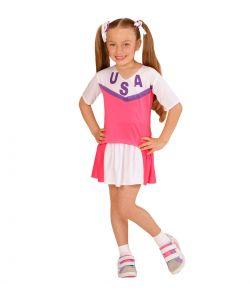 Billigt pink Cheerleader kostume til piger til fastelavn.