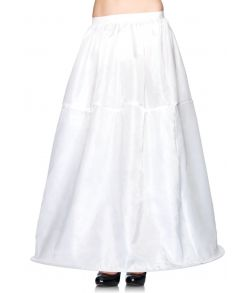 Lang hvid nederdel med ring i bunden til at holde formen