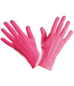 Korte pink handsker til udklædning.