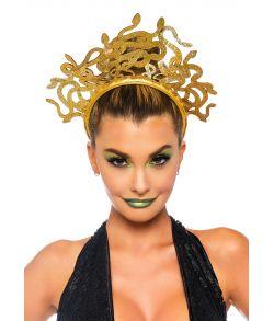 Flot guldhårbøjle med slanger i guld glimmer