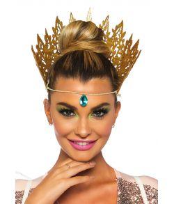 Flot guld glitter krone med turkis juvelvedhæng foran