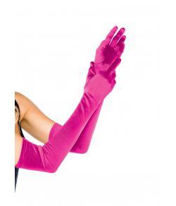 Ekstra lange flotte satin handsker i fuchsia