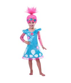 Trolls Poppy kostume til piger til fastelavn.