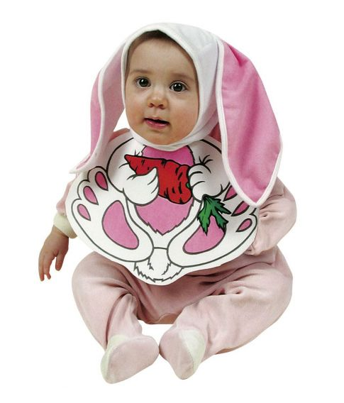Baby Kanin Kostume Med Hagesmæk Og Hue Med ører