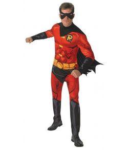 Robin kostume med jumpsuit med kappe og halvmaske.