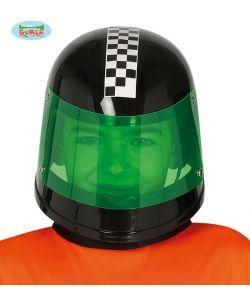 Sort racer hjelm med visir til kostume,