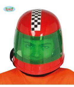 Rød racer hjelm med visir til kostume.