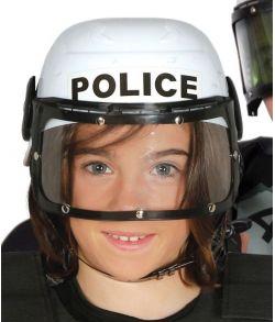 Politihjelm i plastik med visir til børn.