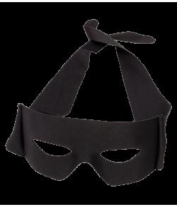 Sort halvmaske med bånd til Zorro udklædningen.