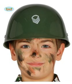 Militær hjelm i plastik til soldat kostumet.