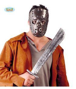 Machete i plastik og halvmaske til Jason udklædningen.