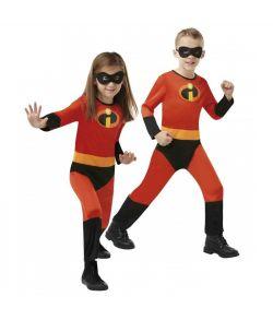 De Utrolige 2 kostume med jumpsuit og halvmaske til piger og drenge.