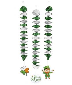 3 stk Sankt Patrick spiraler med vedhæng.