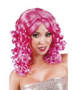 Farverig hot pink paryk med slangekrøller
