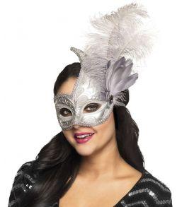 Flot sølvmaske med fjer og detaljer