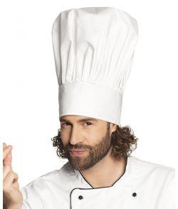 Stor hvid deluxe kokkehue