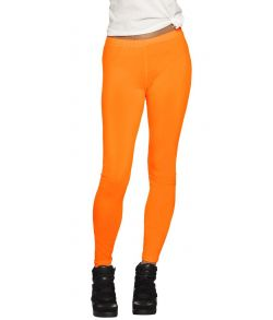 Neonorange leggings til 80er udklædningen.