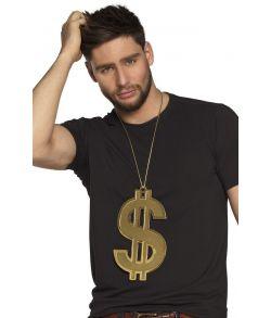 Flot stor guld dollartegn i halskæde