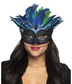Flot blå halvmaske med fjer