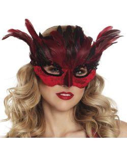 Flot rød halvmaske med fjer