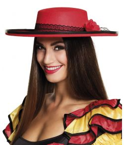 Flot rød spansk hat med sort blondebånd