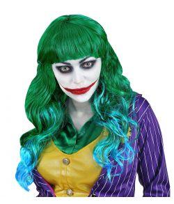 Langhåret grøn paryk med blå spidser til Joker udklædningen.