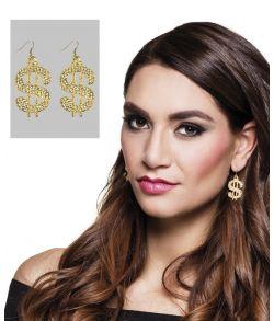 Flotte dollartegn øreringe i guld med glimmersten