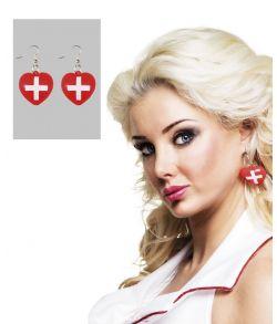 Søde røde hjerteøreringe med hvide kors
