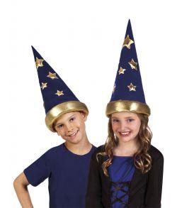 Mørkeblå troldmandshat med guld detaljer, til børn