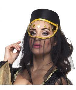 Sort Harem hat med slør og guld detaljer