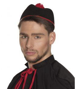 Kardinal hat, sort med røde detaljer og kvast