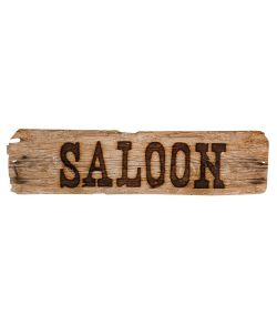 Dobbeltsidet Saloon skilt måler 60x13 cm